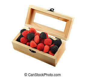 Candies in a wooden box