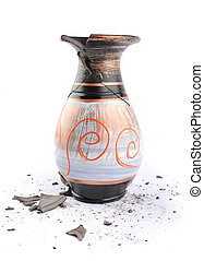 Broken vase on a white background