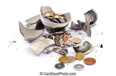 Broken vase with money inside