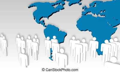 Animation of people icon with the world in the background