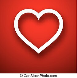 Paper heart over red - Vector illustration of realistic...