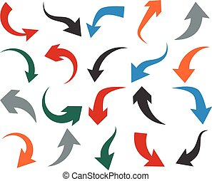 Set of arrow icons. - Vector illustration of curved color...