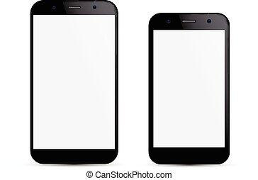 Smartphone concept - Vector illustration of two black modern...
