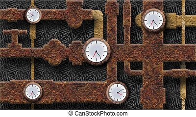 The sewer pipe and clock - Rusty pipes and slowly rotating...