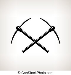 Silhouettes of two crossed pickaxes on a light background,...