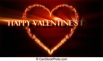 Animation with words spelling Happy Valentines Day in black...