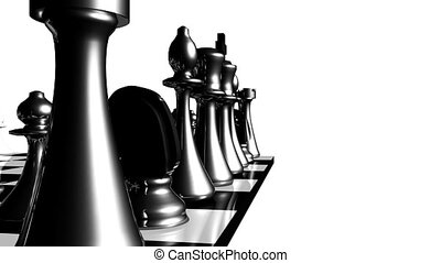 Animation of chess set in motion. Concept of fight