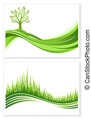 Set of green tree and grass growth vector eco concept Nature...