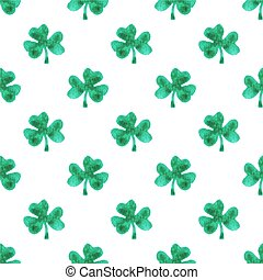 Seamless watercolor pattern with clover leaves on the white...