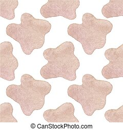 Seamless watercolor pattern with cow hide on the white background, aquarelle. Vector illustration. Hand-drawn background.