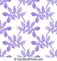 Seamless watercolor pattern with leaves on the white...