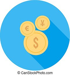Currency, euro, pound, dollar icon vector image Can also be...