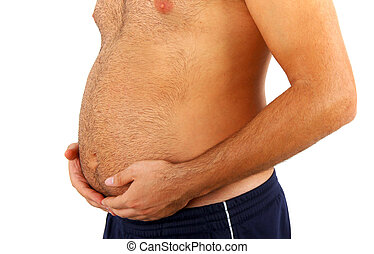 Big belly of a fat man isolated on white background.