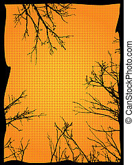 Grunge Branches Frame - Grunge black silhouettes of naked...