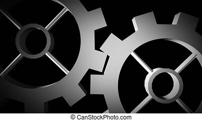 Cogs and gears in motion in black and white