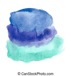 Blue turquoise watercolor spot - Abstract watercolor art...