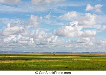 Morecambe Bay plain - Flat landscape with agricultural land...