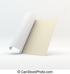 Blank page template for design layout. 3d vector illustration.