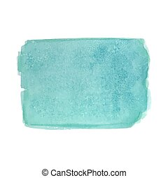 Turquoise watercolor rectangle - Abstract watercolor art...