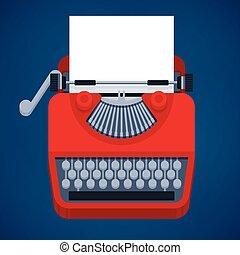 Typewriter - Flat design typewriter with space for user's...