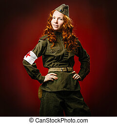 Historical reenactment of soviet union army by pretty girl