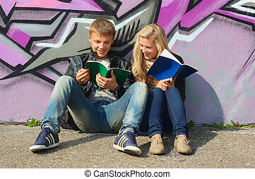 teenage couple studying