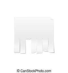 Blank sheet of paper advertising with cut slips isolated on...