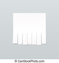 Blank sheet of paper advertising with cut slips on light...