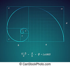 Golden Ratio - A Glowing Scheme of the Golden Ratio on Dark...