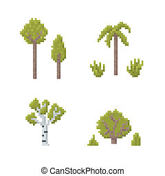 Pixel Art Trees - Set of Trees Isolated on White - Old...