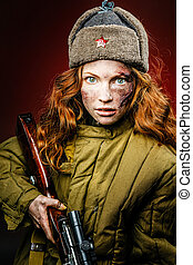 Historical reenactment of soviet union army by pretty girl with