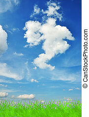 Green grass and blue sky - Lush green grass and blue sky...