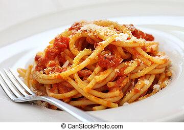 amatriciana, italian pasta cuisine - amatriciana, italian...