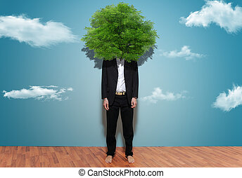 Environmentalist - Portrait of man with tree in head