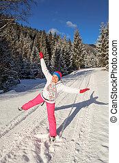 girl, snow, winter, fun