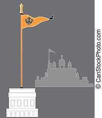 sikh flag - a vector illustration in eps 10 format of the...