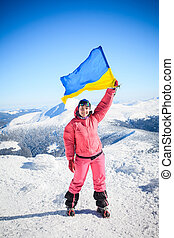 climber, top, flag, Ukraine - Ukrainian Carpathian mountains...
