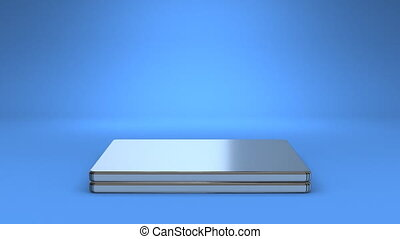 Laptop On Blue Background - Front View Of Laptop On Blue...