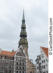 View of Riga. - View of St. Peter's Church in Riga, Latvia.