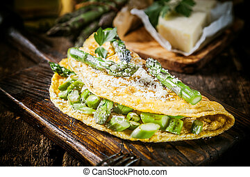 Appetizing Egg Omelette Main Dish on Serving Board - Close...