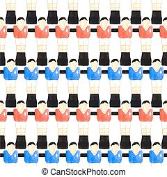 Watercolor seamless pattern with oldfashioned foosball...