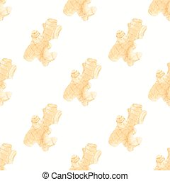 Seamless watercolor pattern with ginger on the white...