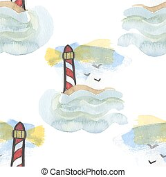 Seamless watercolor pattern with lighthouse on the white background, aquarelle.  Vector illustration. Hand-drawn background.