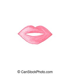 Watercolor painted lips, aquarelle. Vector illustration....
