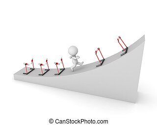 3D Character Running Uphill Through - A 3D character running...