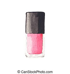 Watercolor nail polish, aquarelle. Vector illustration....