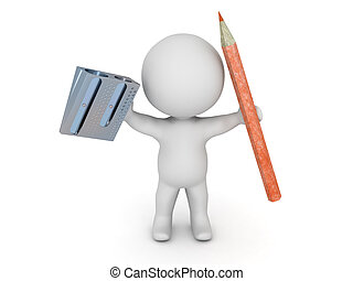 3D Character Holding Pencil and Pencil Sharpener - A 3D...