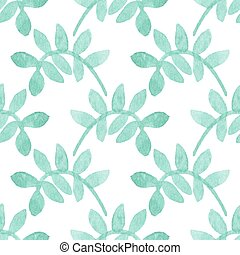 Seamless watercolor pattern with floral elements on the...