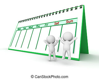 3D Characters Celebrating Weekend Days with Calendar behind...