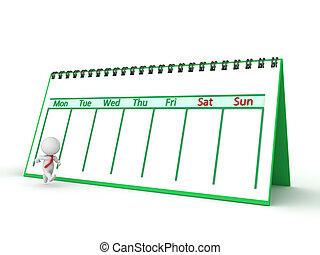 3D Character Running Through The Work Week with Calendar - A...